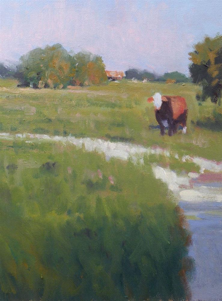 """Ranch and Cow"" original fine art by David Forks"
