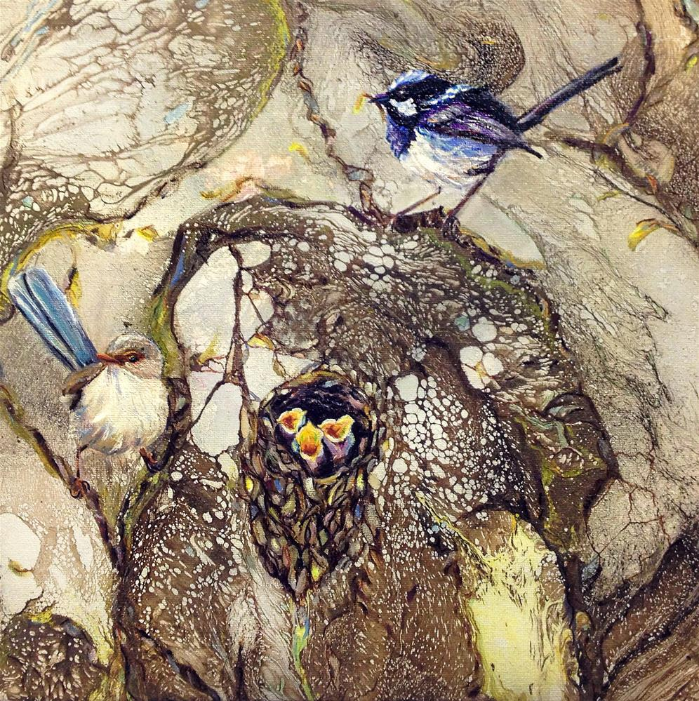 """Superb Fairy Wrens 1"" original fine art by Sunny Avocado"