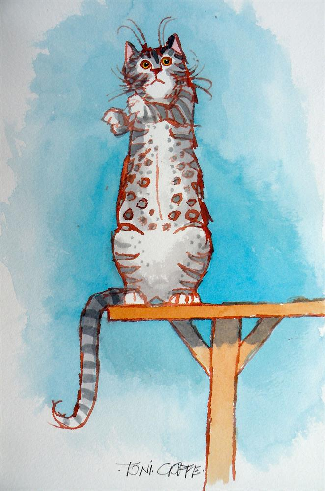 """Cat Table"" original fine art by Toni Goffe"