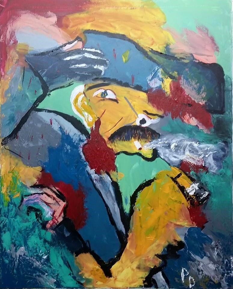 """Paul DeLamater. Curtain Of Fire Acrylic"" original fine art by Gabriella DeLamater"