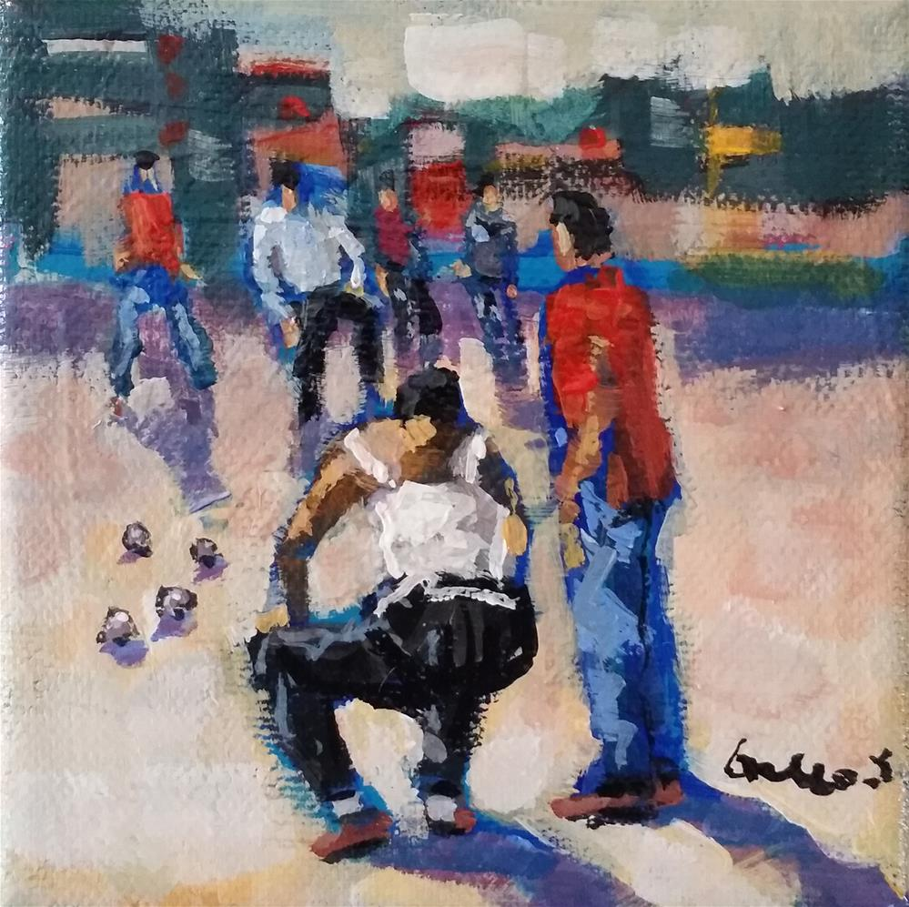 """Pétanque  in Provence"" original fine art by salvatore greco"