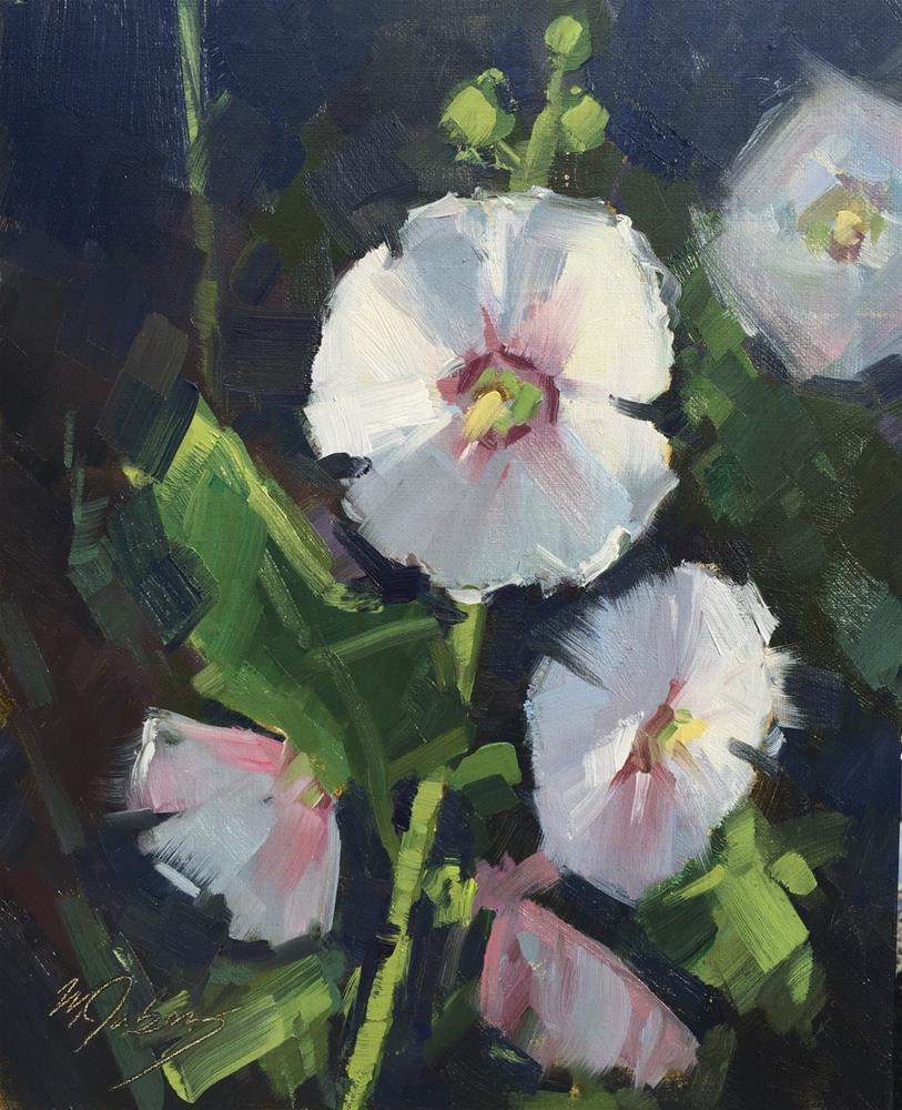 """Hollyhocks"" original fine art by Mary Jabens"