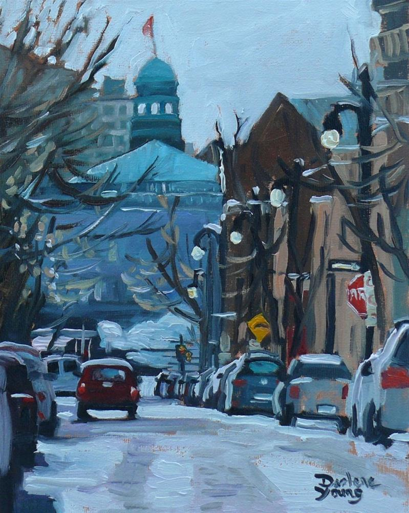 """680 Montreal Winter Scene Rue Prince Artur (McGill Ghetto)"" original fine art by Darlene Young"