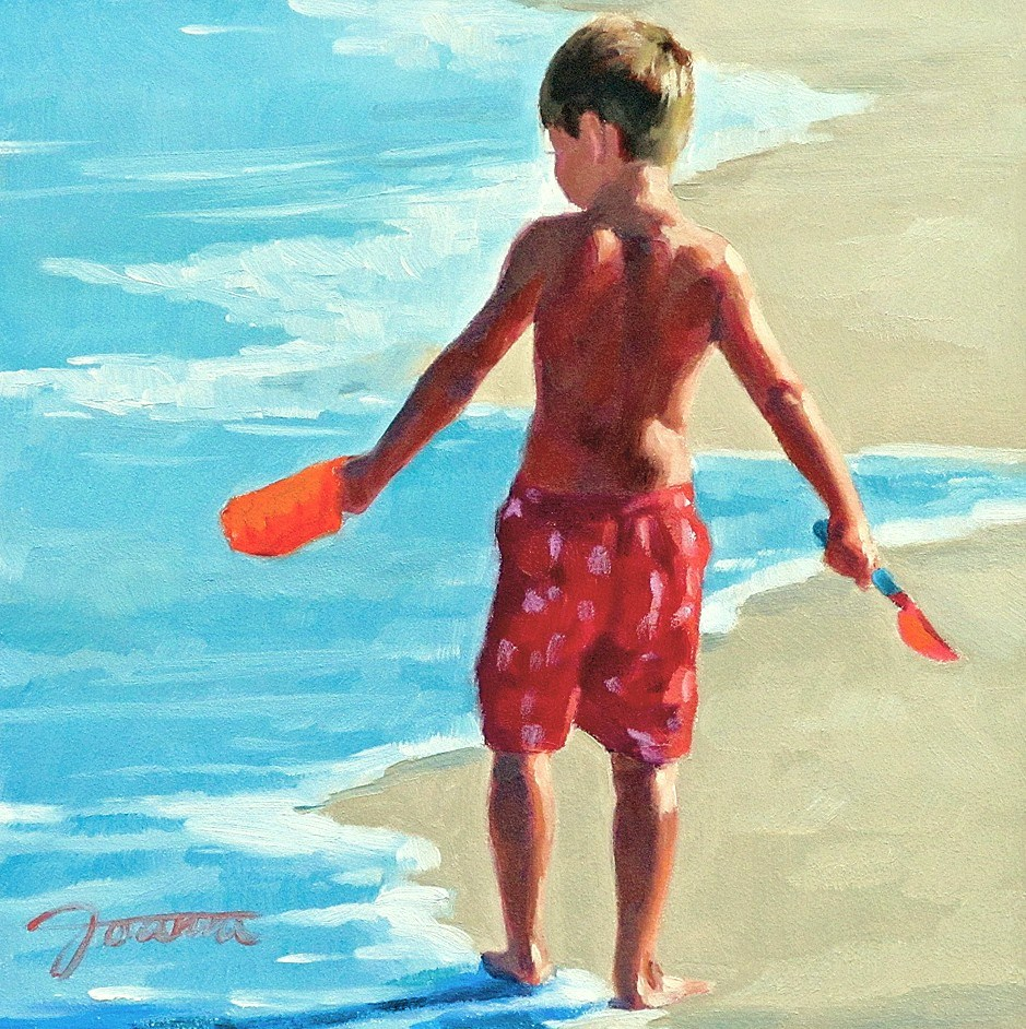 """Treasure Hunt--Series Painting of Children On the Beach"" original fine art by Joanna Bingham"