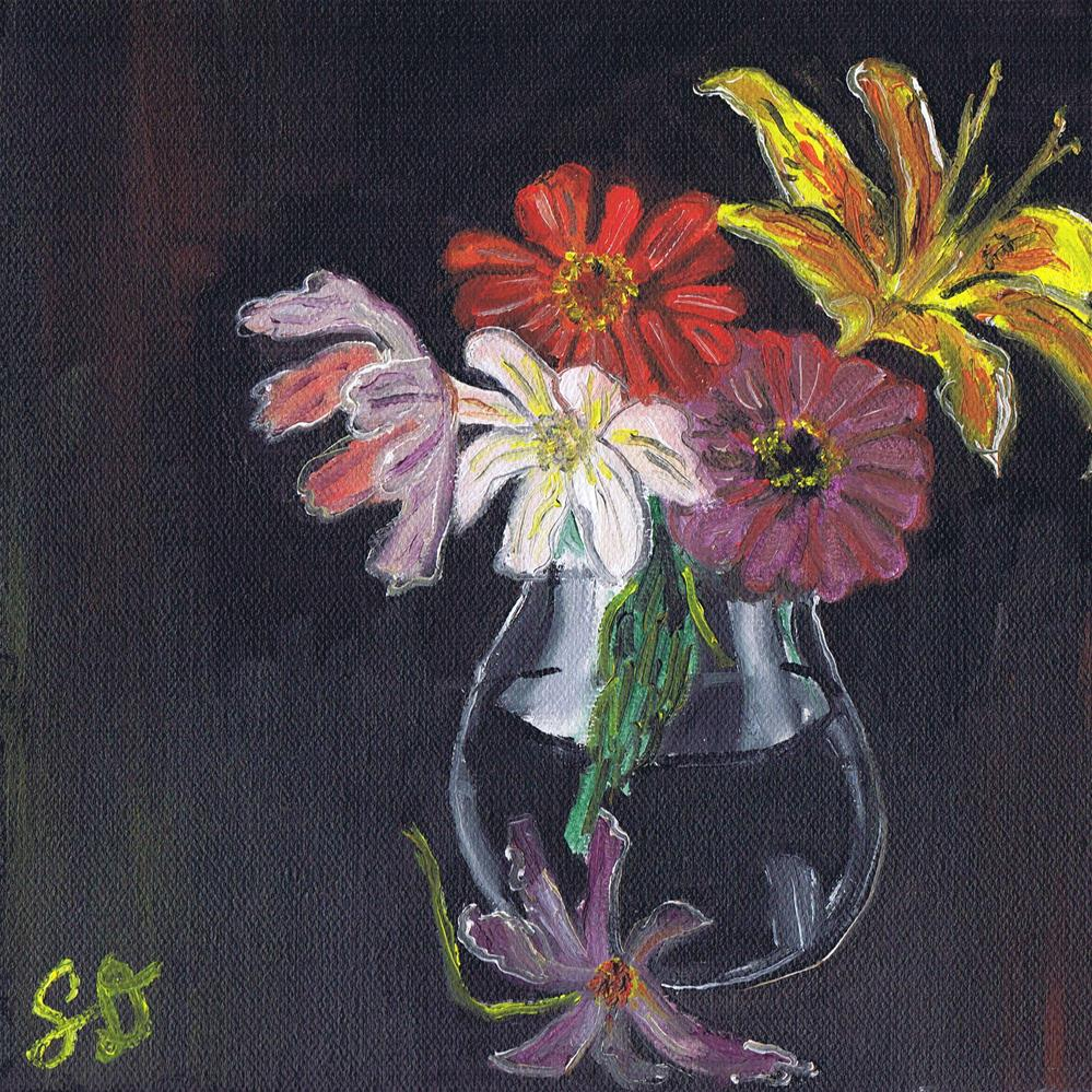 """Colorful Flowers in a Vase"" original fine art by Samara Doumnande"