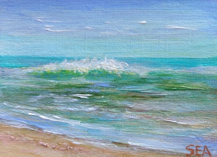 """3054 - SUMMER WAVES - ACEO Series"" original fine art by Sea Dean"