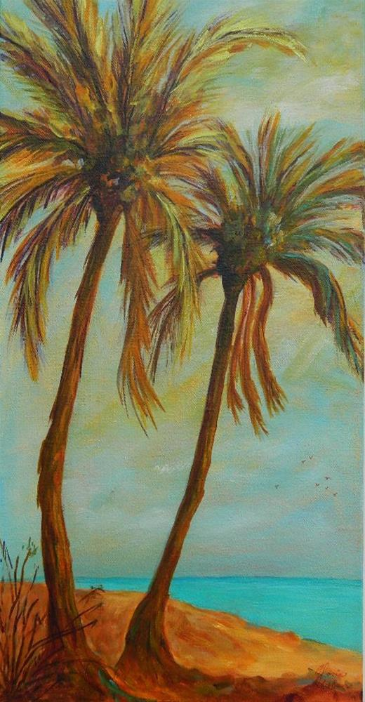 """Twin Palm Trees"" original fine art by Gloria Urban"