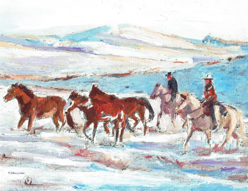 """The Wild Horses #3 (9 x 7 Oil on canvas sheet - no frame)"" original fine art by Ramon DelRosario"