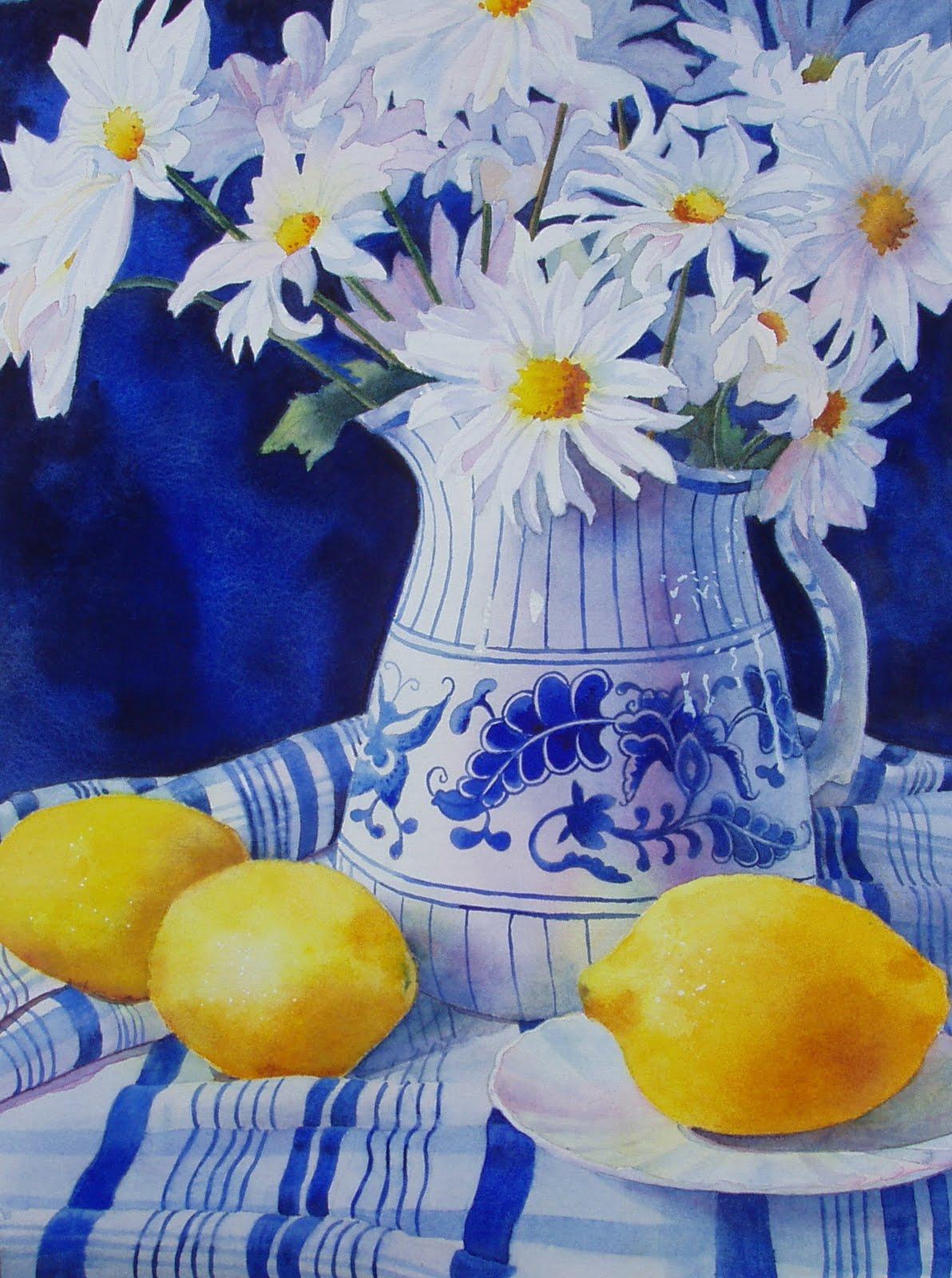 """Lemons and Daisies,"" Original Watercolor Painting, Julie Kirkland original fine art by Julie Kirkland"