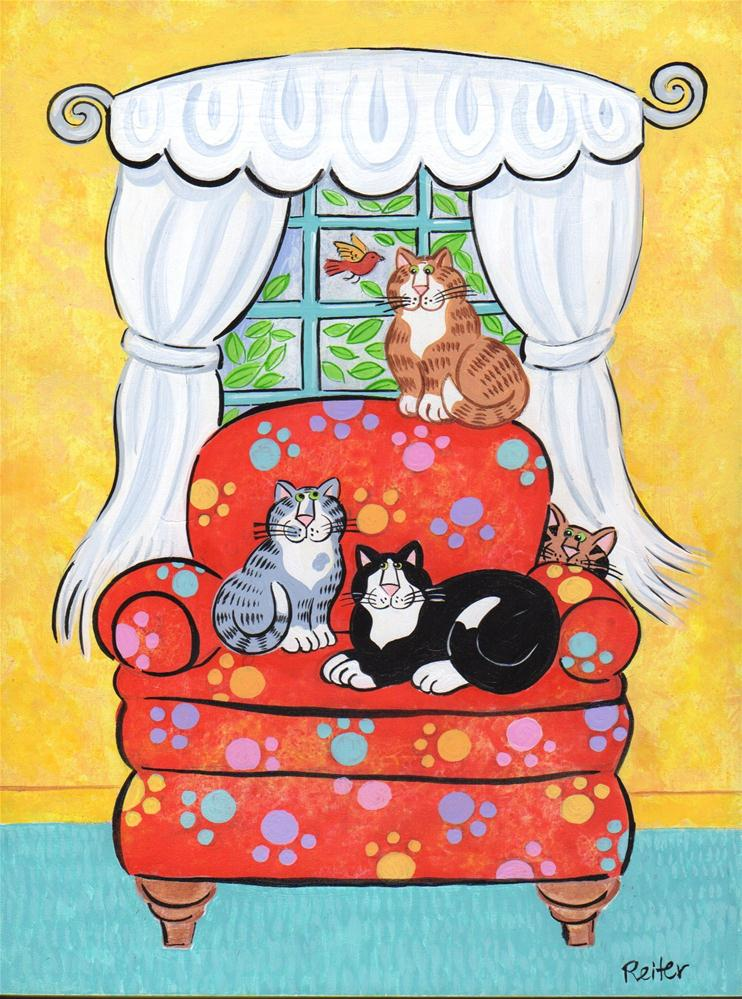 """Lots of Lovely Cats"" original fine art by Candace Reiter"