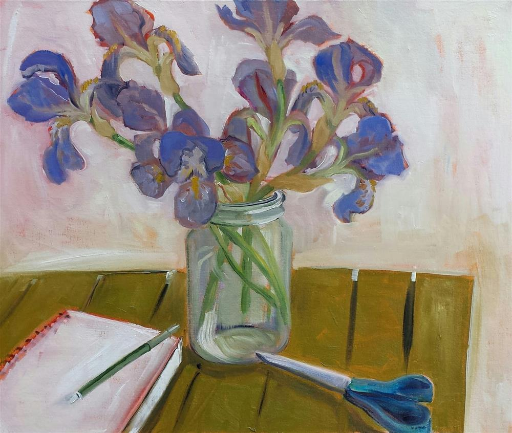 """Annual Big Iris Painting"" original fine art by Judith Fletcher"