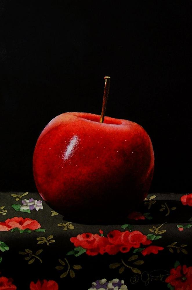 """Apple on Calico"" original fine art by Jacqueline Gnott, TWSA, WHS"