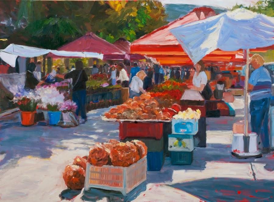 """KM2776 Morning in Arles by Kit Hevron Mahoney (30x40 original oil urban landscape)"" original fine art by Kit Hevron Mahoney"