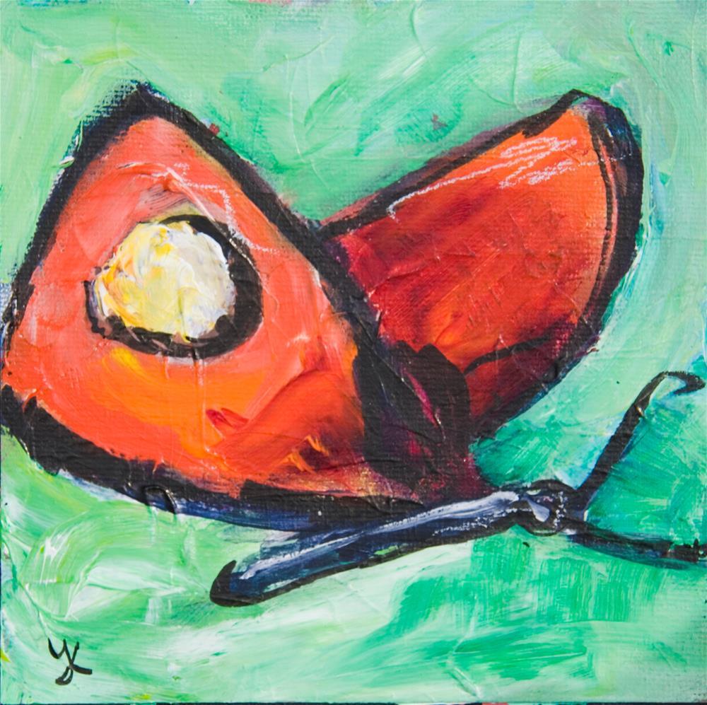 """""""Well-Red Butterfly"""" original fine art by Yulia Kazansky"""