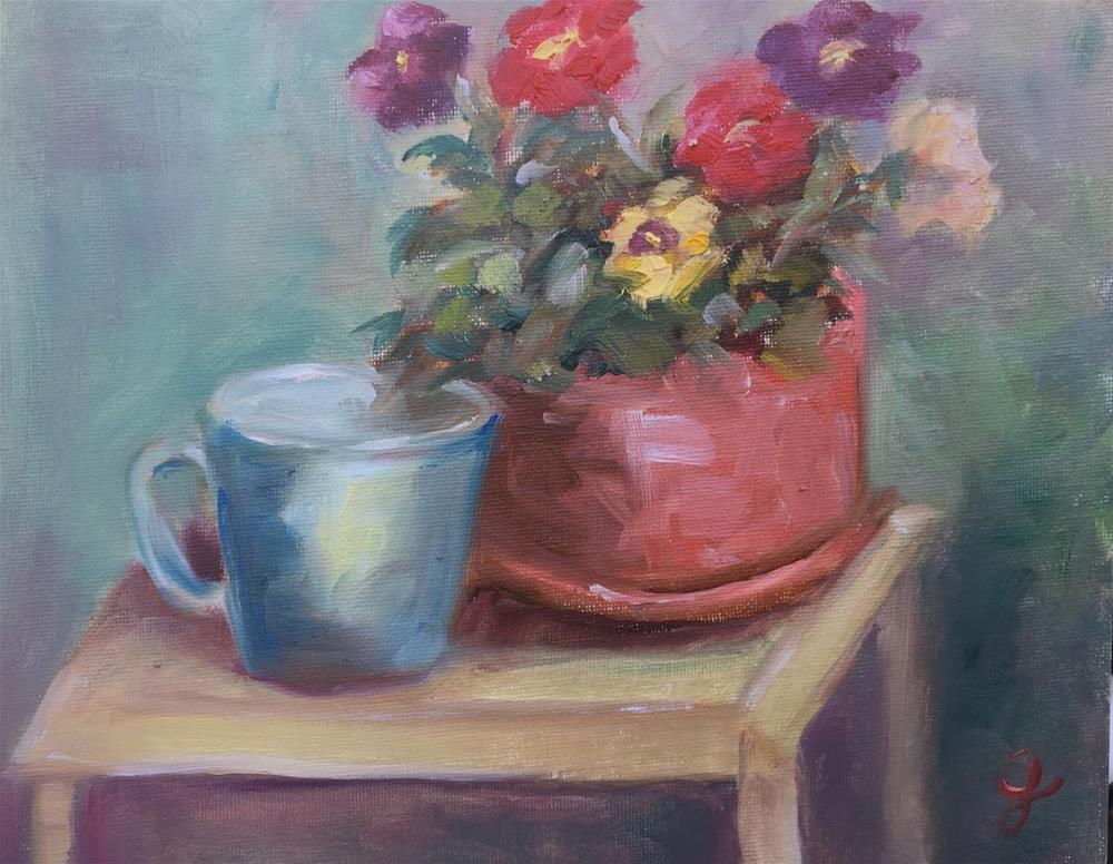 """Morning Pansies"" original fine art by Gayle Lambeth"