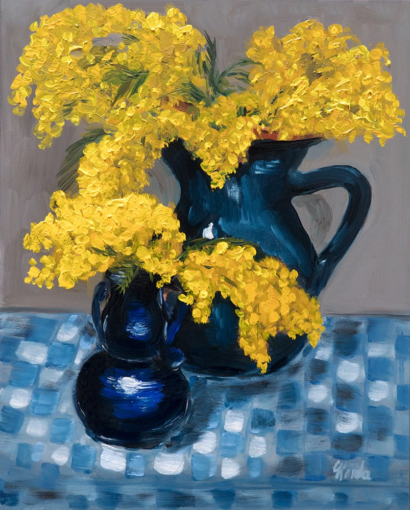 """Still Life With Mimosas"" original fine art by Corinne Korda"