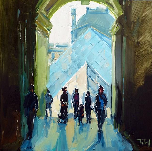 """Paris, Louvre"" original fine art by Jurij Frey"