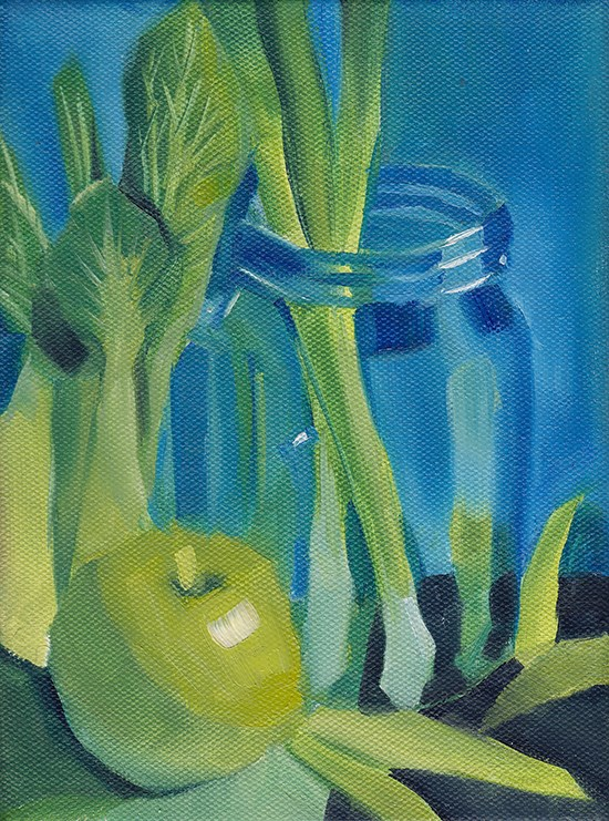 """Green Against Blue"" original fine art by J M Needham"