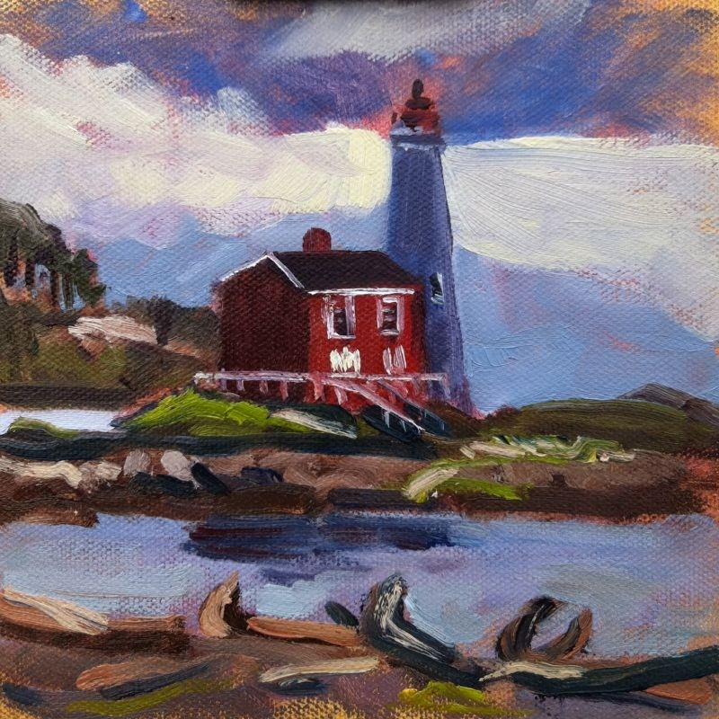 """Fisgard Lighthouse, oil on board, 6x6"" original fine art by Darlene Young"