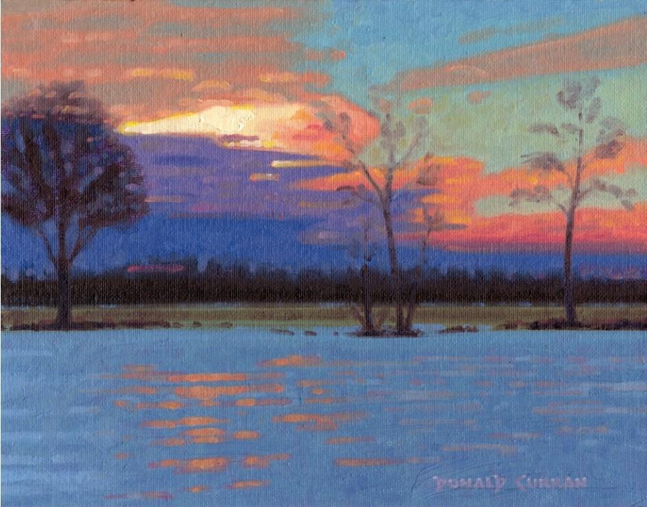 """""""Winter Sunset"""" original fine art by Donald Curran"""