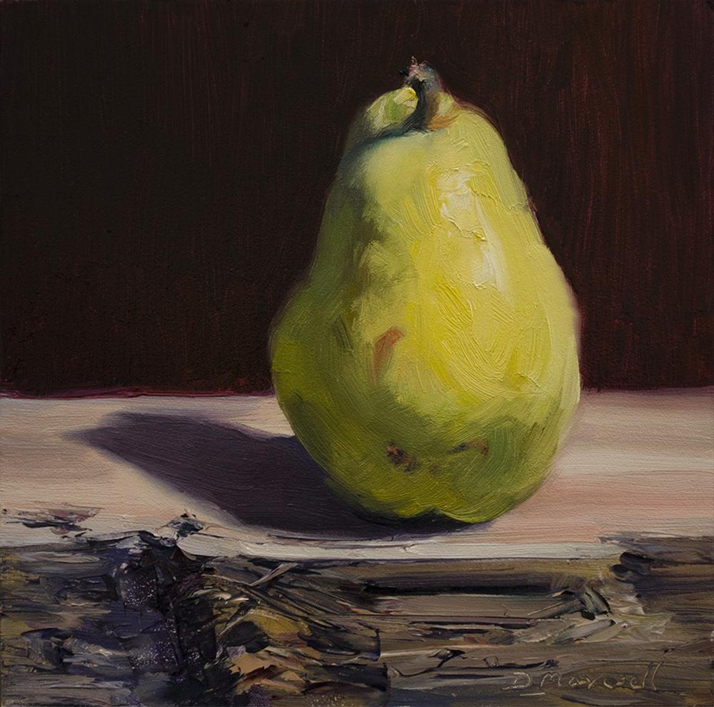 """Bartlett Pear on a Cedar Wood Block Study #7"" original fine art by Denise Maxwell"