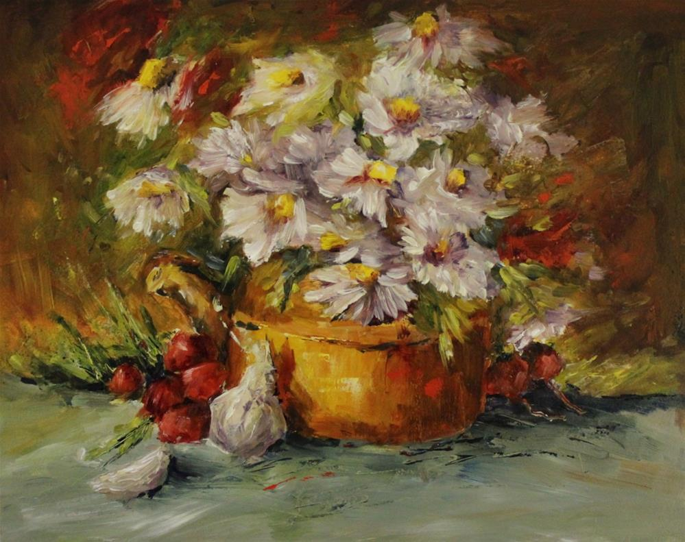 """Original oil floral flower still life impressionistic painting"" original fine art by Alice Harpel"