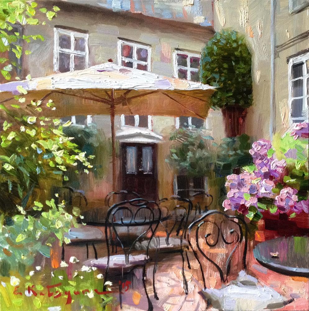 """The Secret Yard"" original fine art by Elena Katsyura"