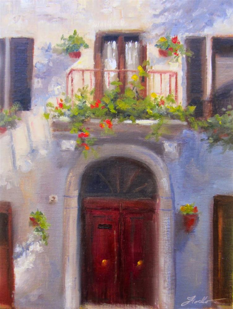 """Pienza Balcony"" original fine art by Pat Fiorello"