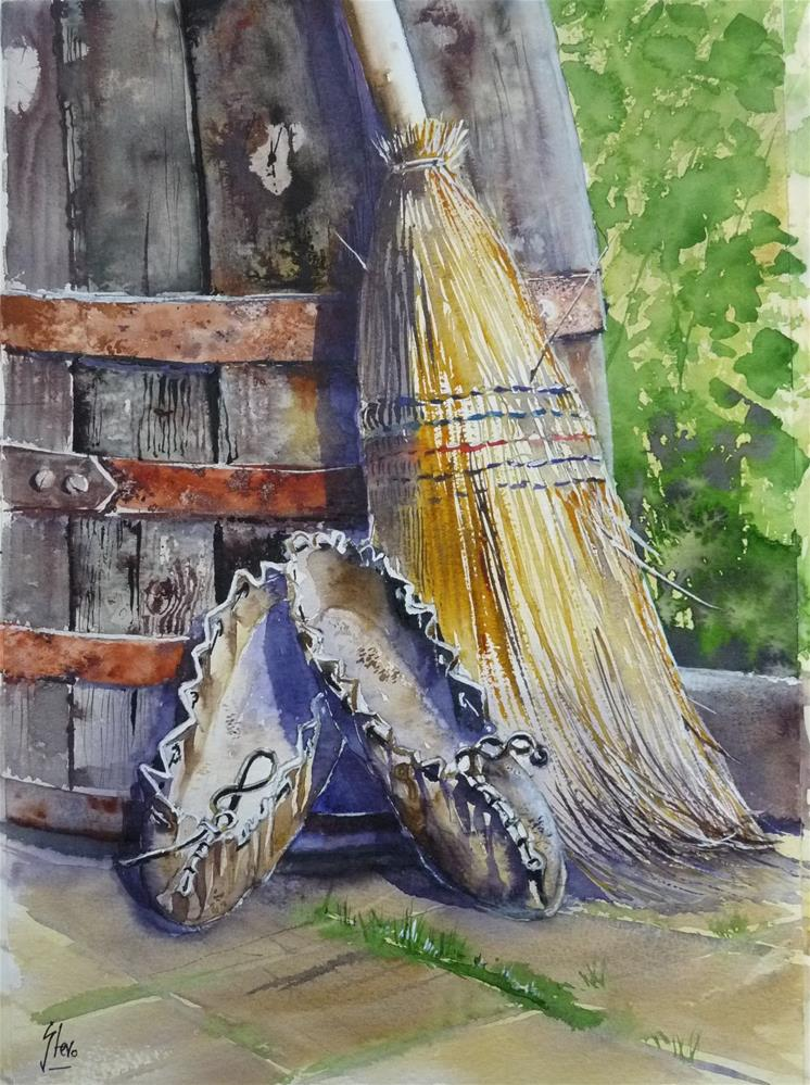 """Babas New Broom"" original fine art by Martin Stephenson"