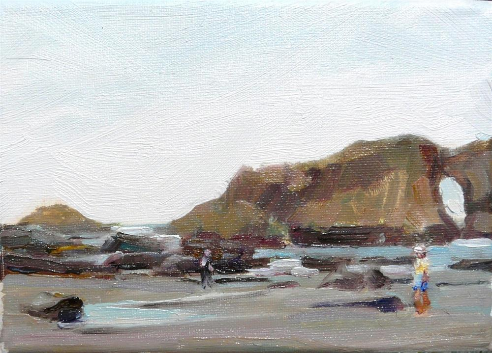 """Pacific Northwest Coast,seascape,oil on canvas,5x7,price$175"" original fine art by Joy Olney"