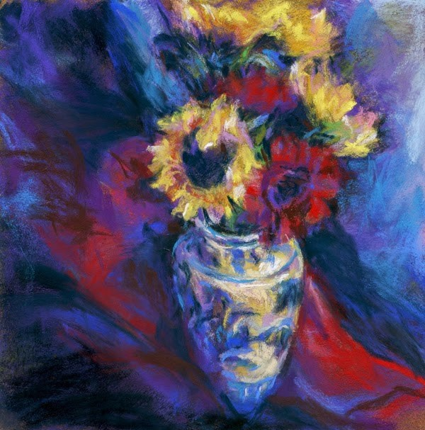 """PURPLE SHADOWS YELLOW SUNS - 8 x 8 still life pastel by Susan Roden"" original fine art by Susan Roden"