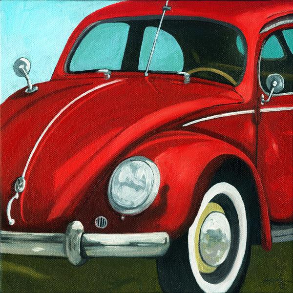 """""""Classic Vintage VW Bug - Vintage car"""" original fine art by Linda Apple"""