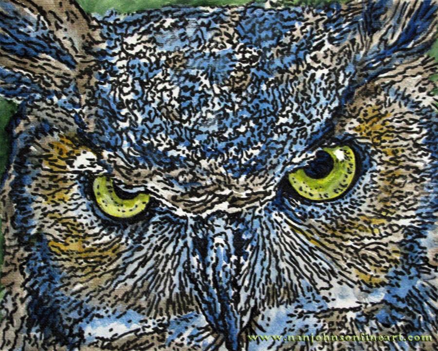 """Great Horned Owl"" original fine art by Nan Johnson"