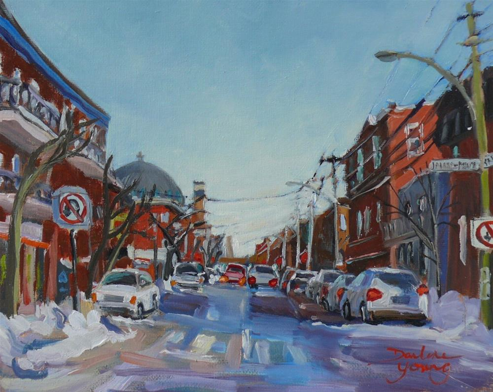"""909 Montreal Winter Scene, Saint Viateur, oil on board 8x10"" original fine art by Darlene Young"