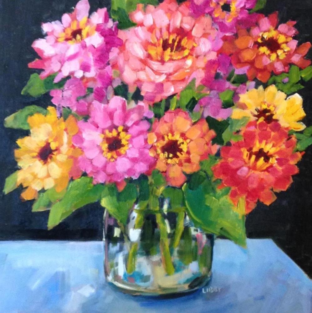 """""""Ten o 'Clock Zinnas"""" original fine art by Libby Anderson"""