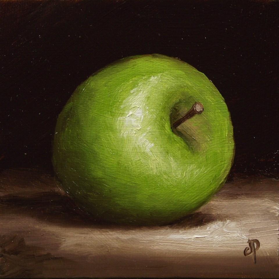 """Little Granny Smith Apple"" original fine art by Jane Palmer"