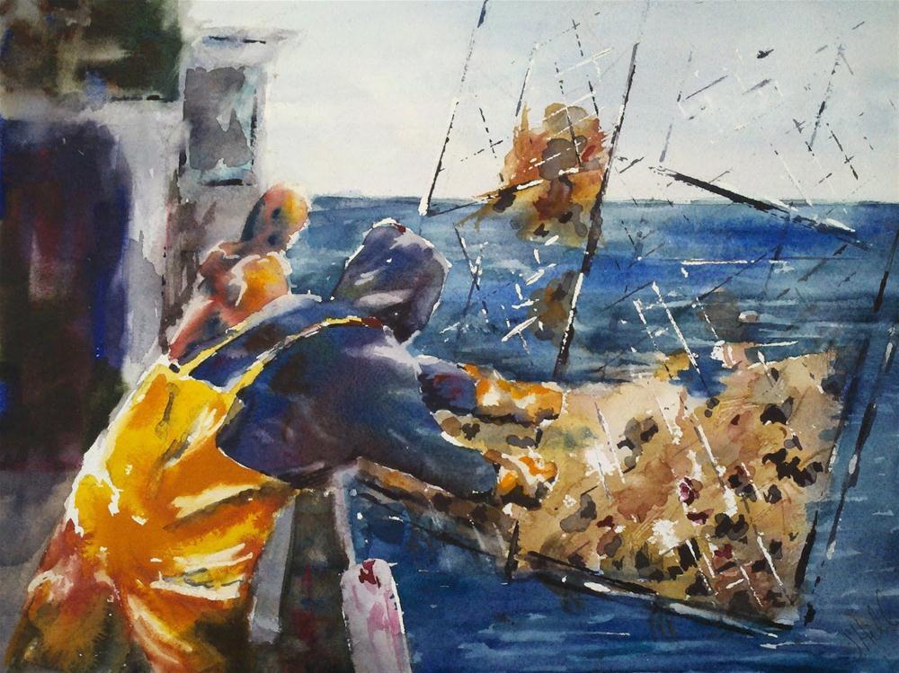 """Bringing in the Crab Pot"" original fine art by Julie Hill"