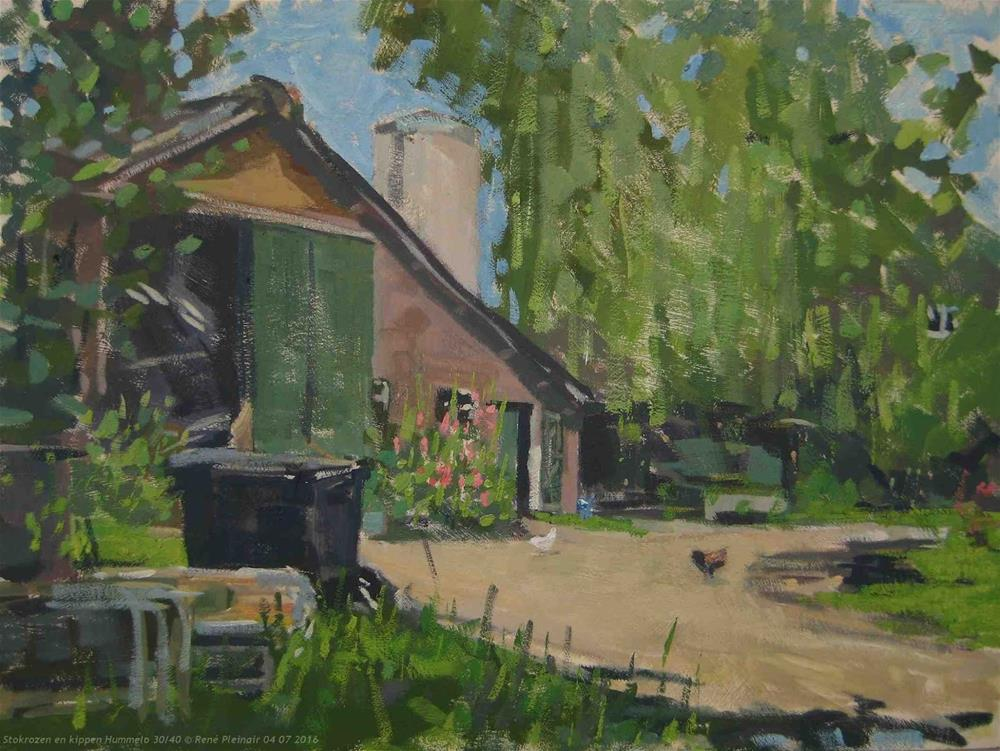 """Hollyhocks and chickens. Hummelo, The Netherlands"" original fine art by René PleinAir"
