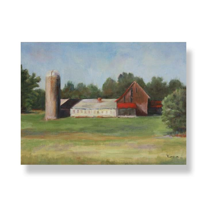 """Landscape Painting with Silo and Barns"" original fine art by Carrie Venezia"