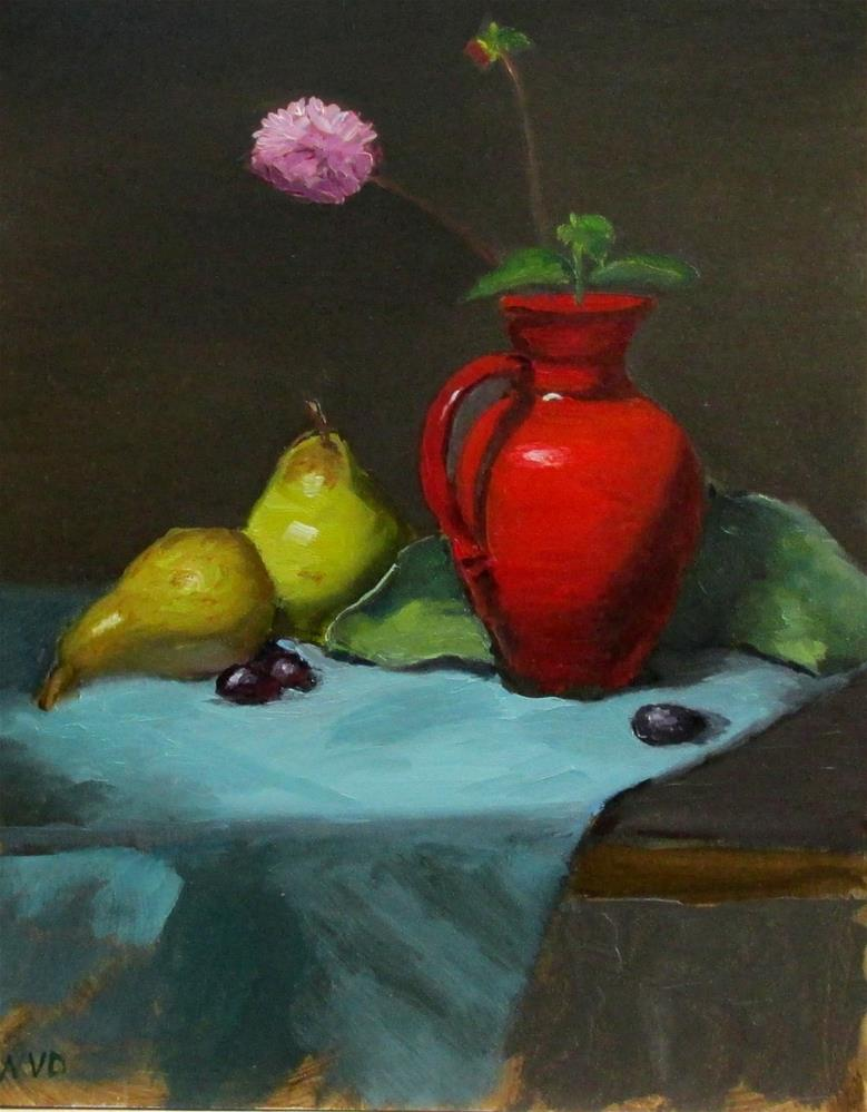 """Red Vase and Pears"" original fine art by Will Dargie"