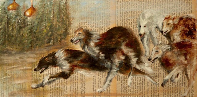 """Rostov's dogs (Dog's of Literature No 5)"" original fine art by Karen Robinson"