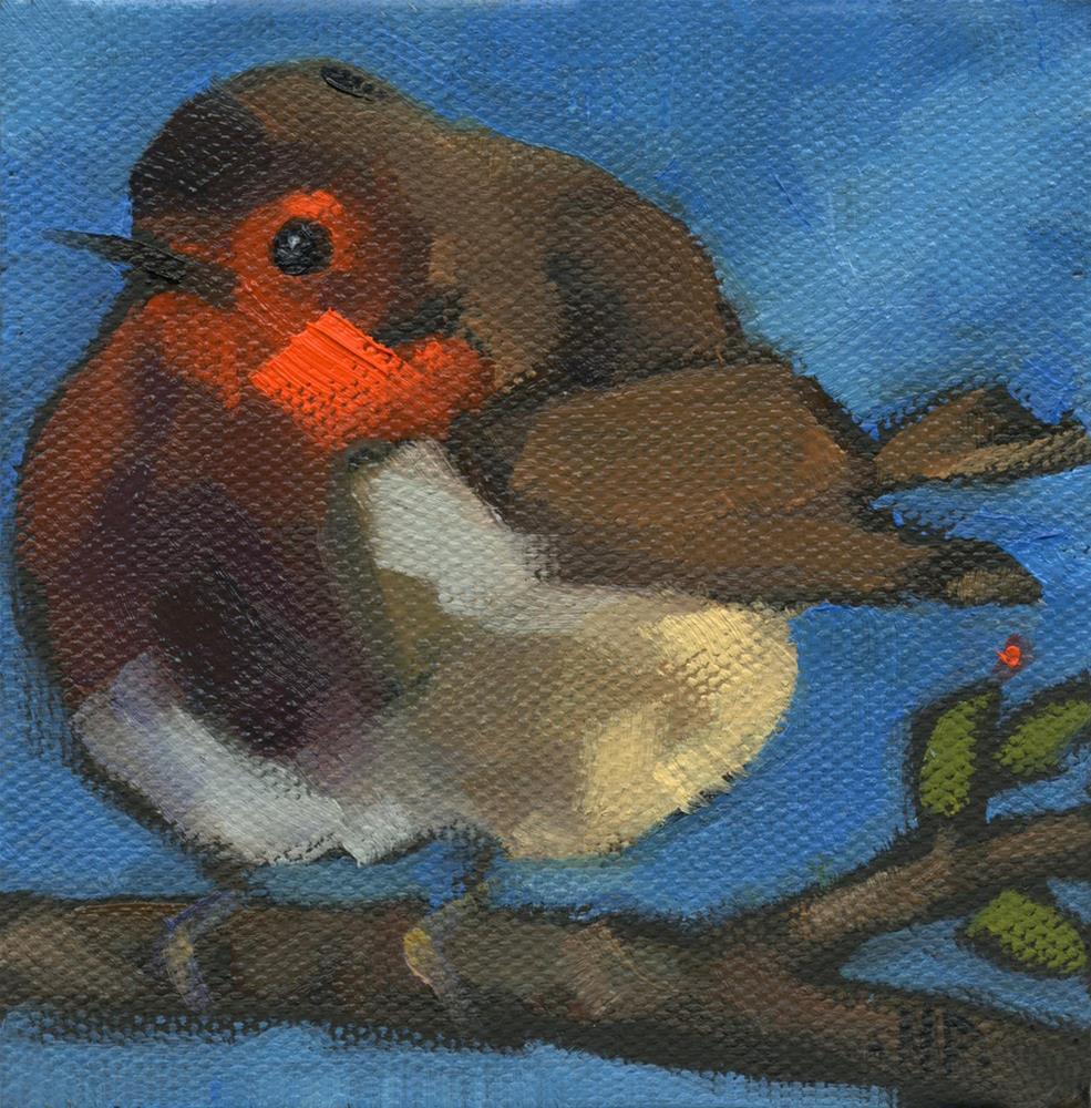 """""""SOLD -Rock'n Baby Robin"""" original fine art by Nancy Parsons"""