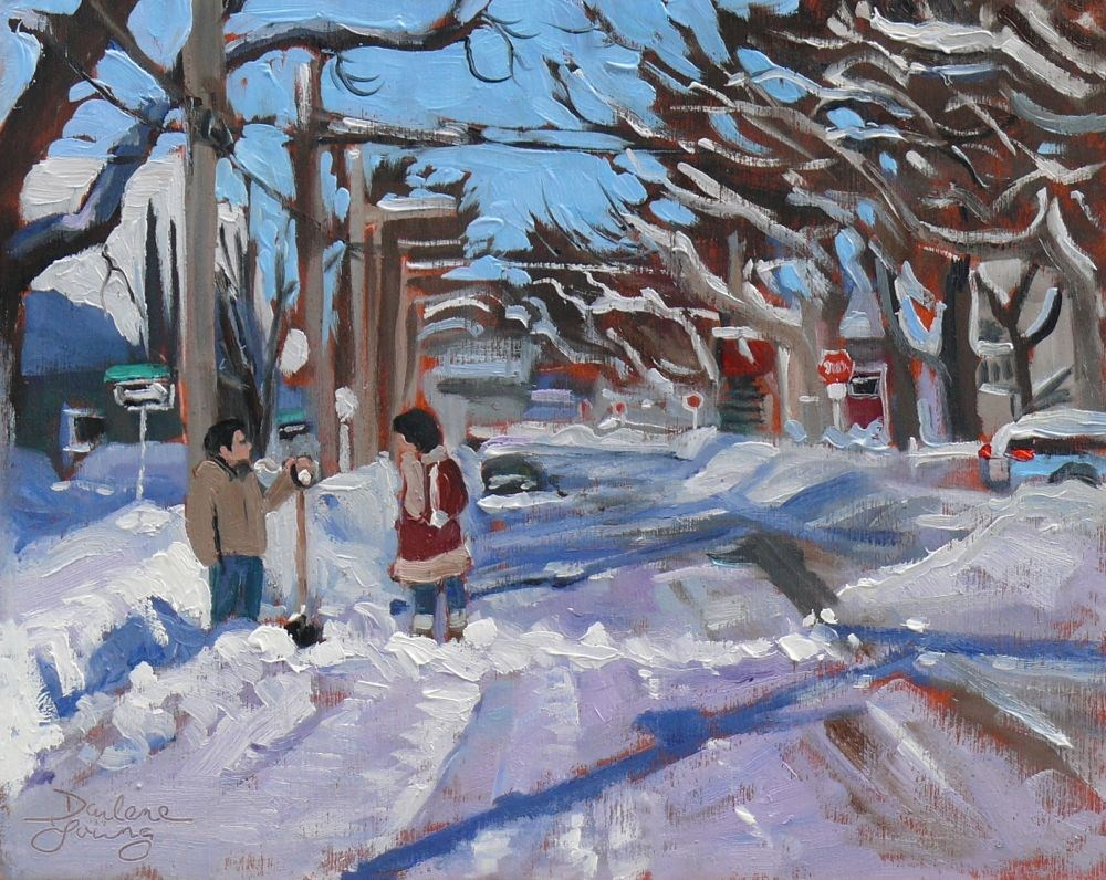 """563 Charlottetown Winter Morning"" original fine art by Darlene Young"