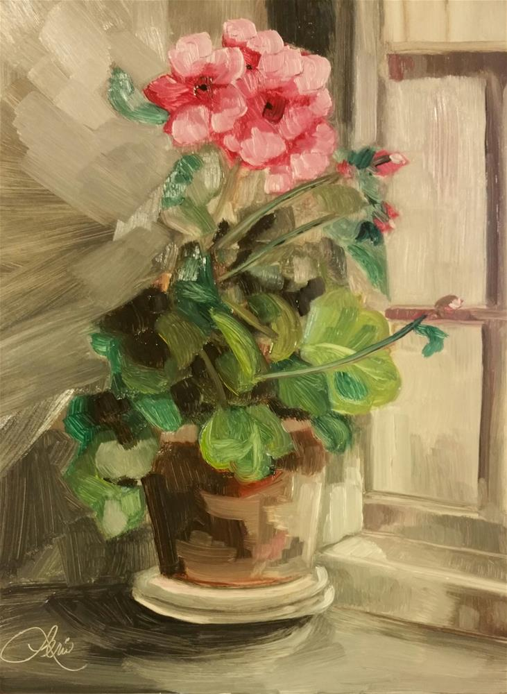 """Window Geranium"" original fine art by Leni Tarleton"