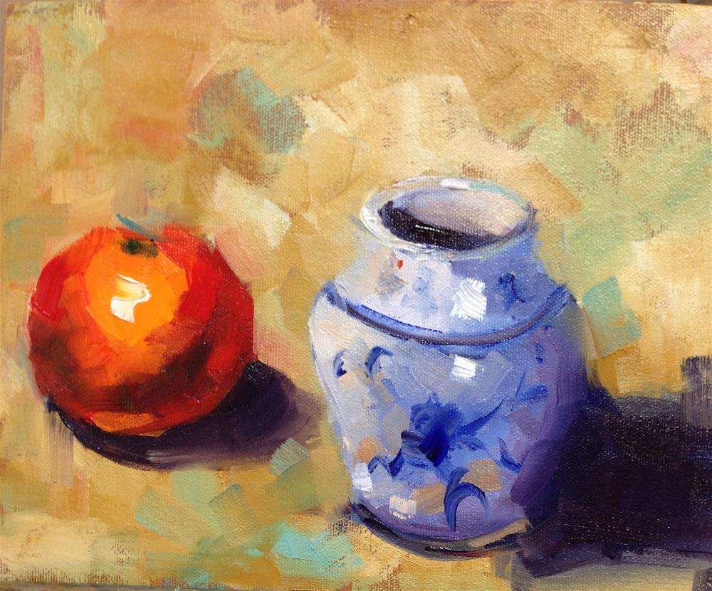 """""""Orange N Blue"""" original fine art by Peggy Schumm"""
