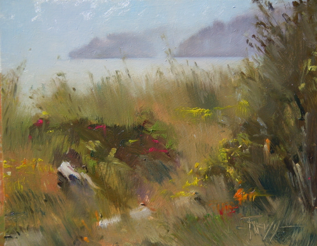 """Plein Air Painting, at the Point no Point Lighthouse"" original fine art by Robin Weiss"