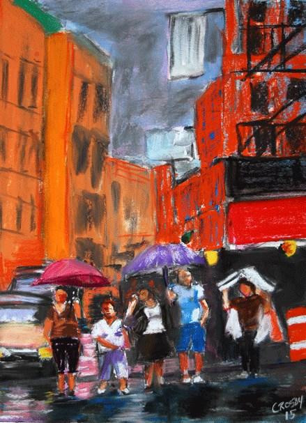 """Gloomy With Umbrellas"" original fine art by Donna Crosby"