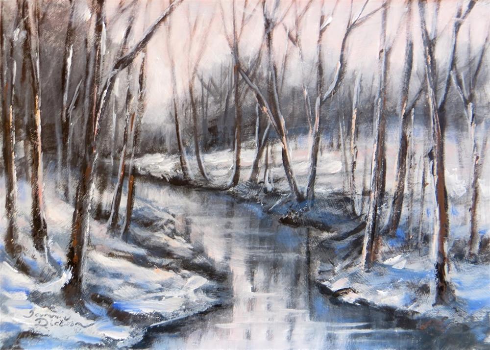 """Wooded Winter Creek"" original fine art by Tammie Dickerson"