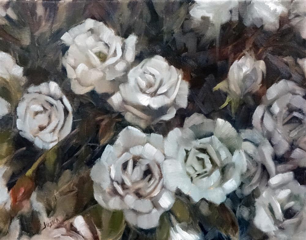 """White Roses"" original fine art by Elaine Juska Joseph"