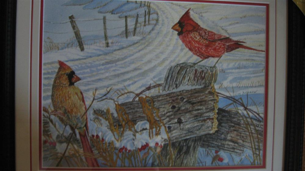 """Pair Of Cardnials II"" original fine art by Lisa Darrow"